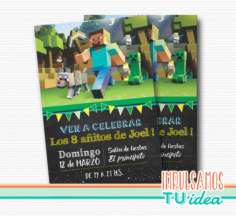 Cumple Minecraft, invitación minecraft imprimible