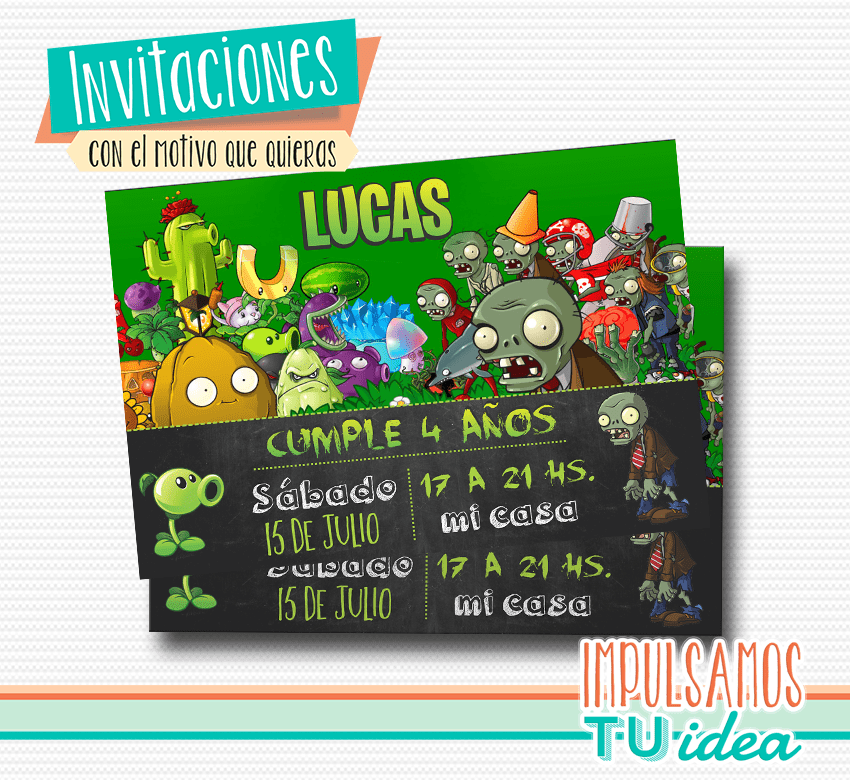 Plants Vs Zombies Tarjeta Plants Vs Zombies Imprimible