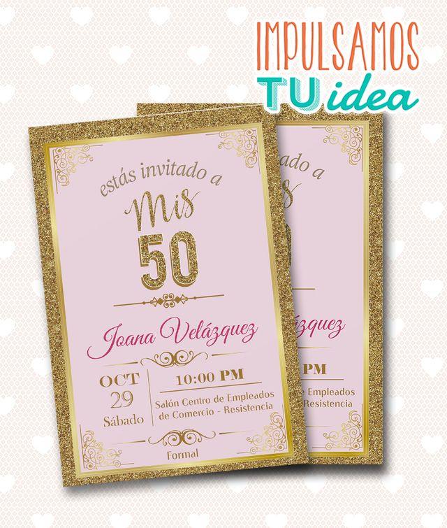 Tarjeta Cumple 50 Invitación Cumple 50 Para Imprimir