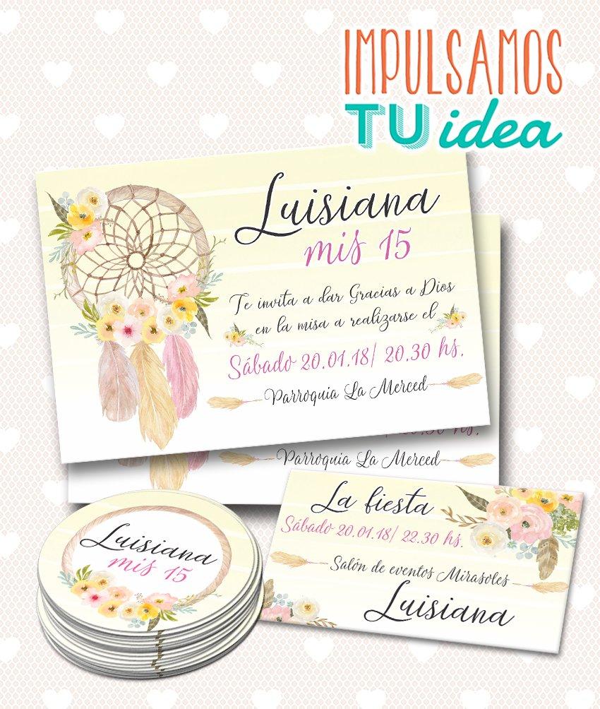 Invitación De 15 Atrapasueños Personal Y Topper Para Imprimir