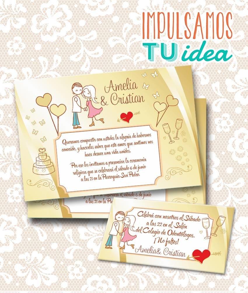Tarjeta de boda para imprimir invitaci n y personal a y c - Disenos tarjetas de boda ...