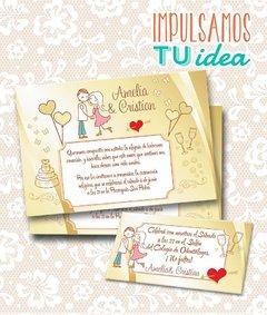 Tarjeta De Boda Para Imprimir Invitación Y Personal A Y C