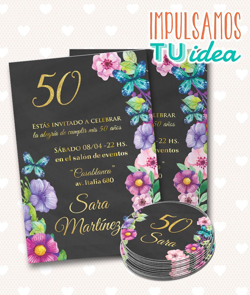 Invitación Cumple 40 Tarjeta Cumple 50 Imprimible