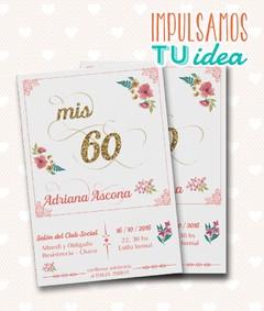 Tarjeta Cumple 60 Invitación Cumple 60 Para Imprimir