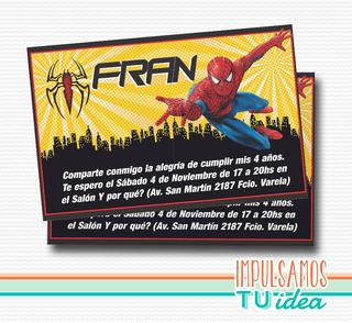 Cumple spiderman, invitación spiderman para IMPRIMIR