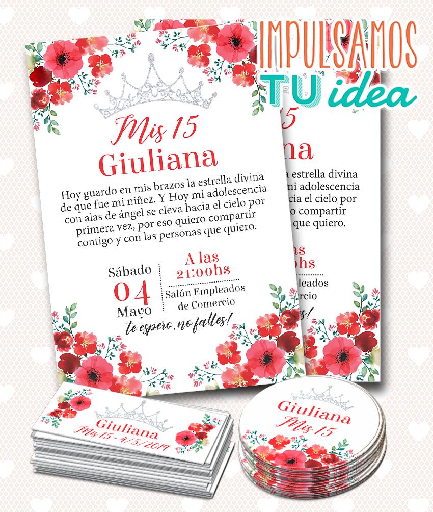 Diseño De Invitación Cumple De 15 Flores Rojas Para Imprimir