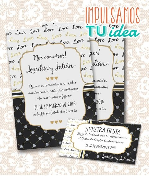 Invitación De Boda Para Imprimir Tarjeta Y Personal L Y J