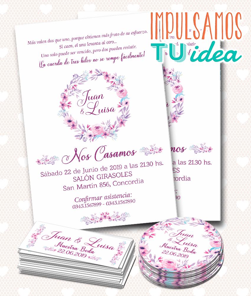 Diseño De Invitación Boda Flores Lilas Para Imprimir