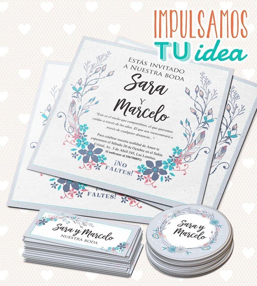 Invitación De Casamiento Cuadrada Con Flores Para Imprimir