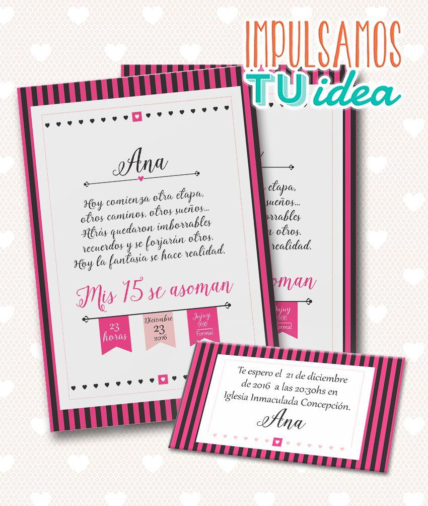 invitación de 15 tarjeta de quince para imprimir fucsia