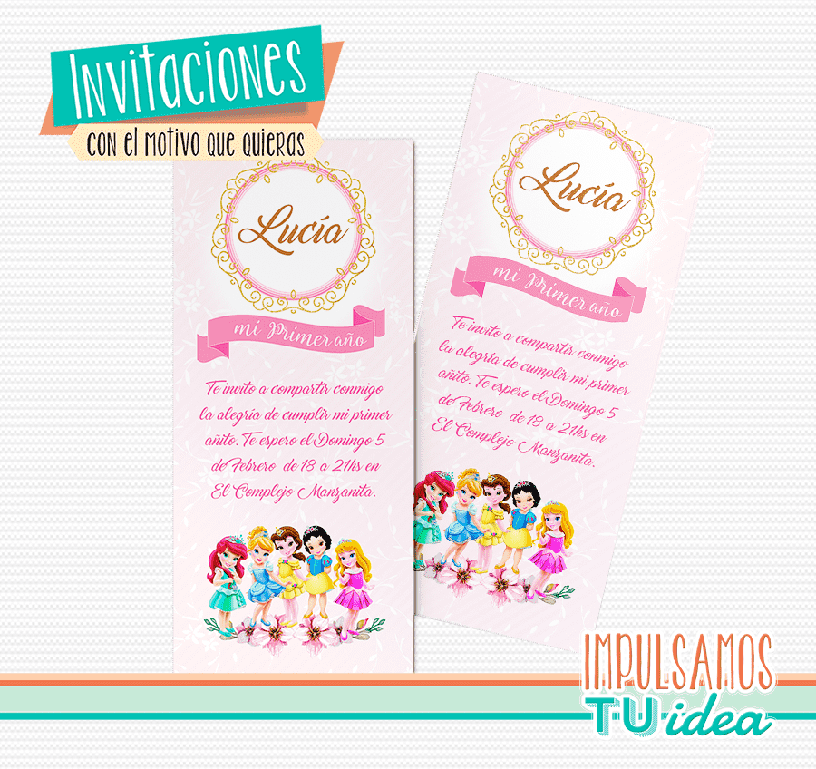 Invitación imprimible cumple princesas disney
