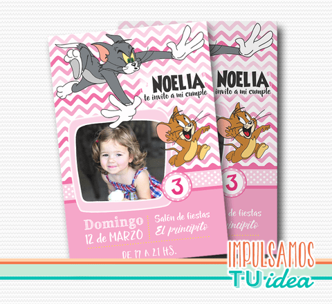 Cumple tom y jerry, invitación nena tom y jerry IMPRIMIBLE