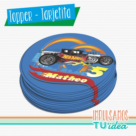 Cumple hot wheels, topper auto de carrera imprimible