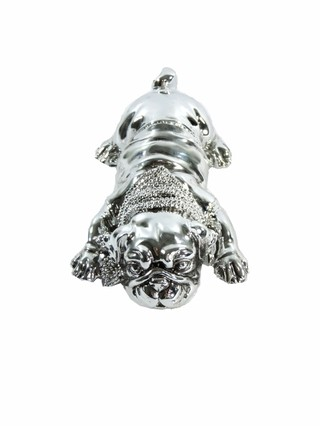 3011 - ESTATUETA DOG FASHION LUXO PINT SILVER 17,5CM