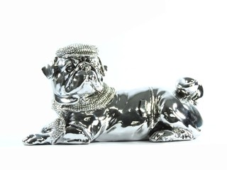 3011 - ESTATUETA DOG FASHION LUXO PINT SILVER 21,5CM