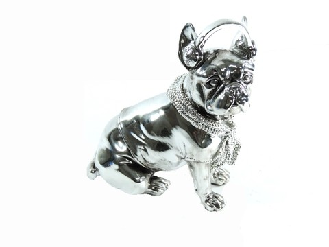 3011 - ESTATUETA DOG FASHION LUXO PINT SILVER 21CM
