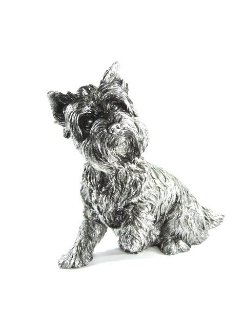 3011 - ESTATUETA DOG YORK LUXO PINT SILVER 32,5CM na internet