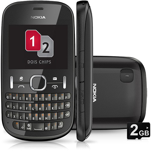 Celular Nokia Asha 201 Preto, Foto 2 Mpx, Bluetooth, Mp3 Player, Memória 10 MB EXP, Quad Band (850/900/1800/1900)