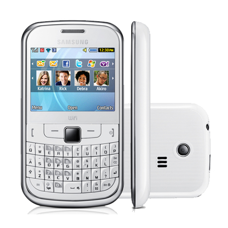 CELULAR SAMSUNG S3350 branco, Teclado QWERTY, microSD até 8GB, Wi-FI, Mp3 Player, Foto 2 Mpx, bluetooth, Quad Band (850/900/1800/1900)