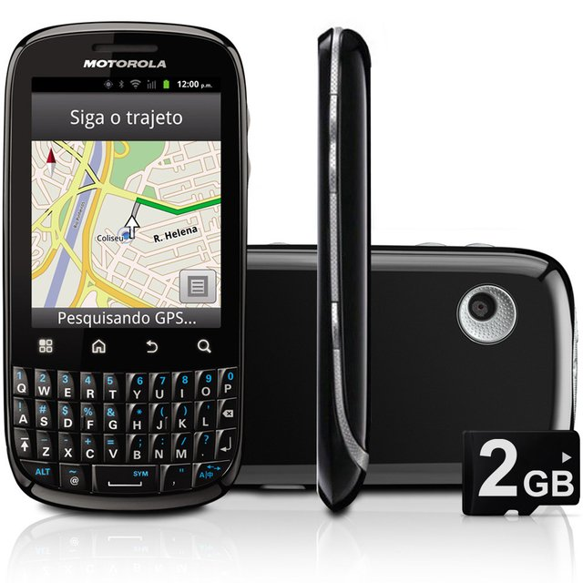 Celular Motorola Spice Key XT316 CAM 3MP, Android, QWERTY, MP3, FM, 3G, GPS, Wi-Fi, Bluetooth, Fone e Cartão 2GB