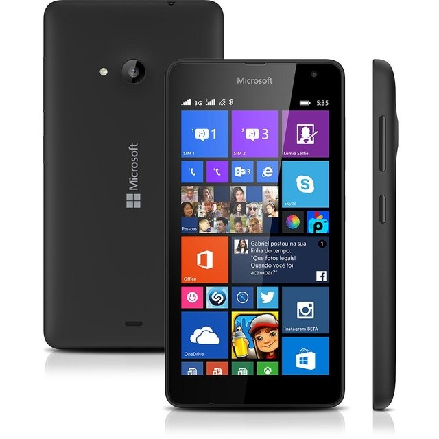 Smartphone Microsoft Lumia 532 Dual DTV Preto com Windows Phone 8.1, Tela 4