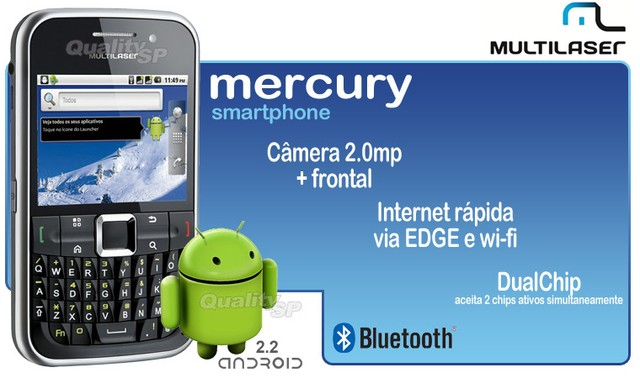 SMARTPHONE MULTILASER MERCURY P3169 ANDROID, DUAL CHIP, WI-FI, QUADRI BAND,TOUCHSCREEN  - comprar online