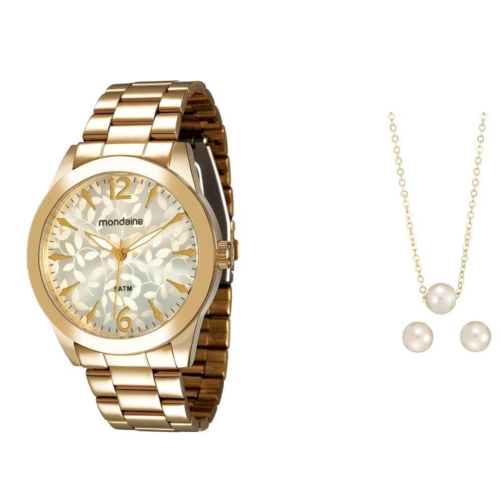 85cb04716 Kit Relógio Feminino Analógico Mondaine 78533LPMVDA1K Dourado e Conjunto de  Par de Brincos e Gargantilha com Pingente de Pérola