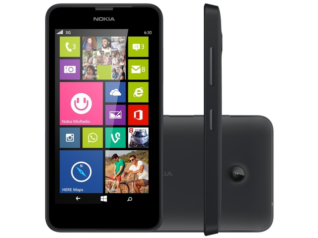 Smartphone Nokia Lumia 630 Preto Dual Sim, Tv Digital ,Windows Phone 8.1, Tela 4.5