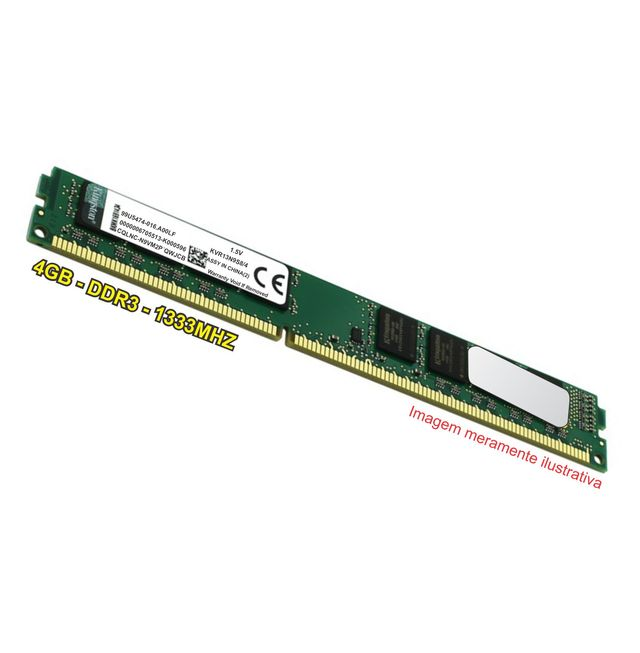 Memória Kingston  Desktop - 4GB - DDR3 - 1333Mhz - KVR13N9S8/4