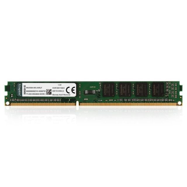 Memória Kingston para Desktop - 4GB - DDR3 - 1600Mhz - CL11- KVR16N11S8/4