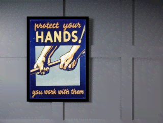 Quadro Poster Propaganda Protect Your Hands na internet
