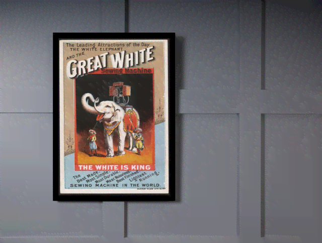 Quadro Poster Propaganda Great White Sewing Machine na internet