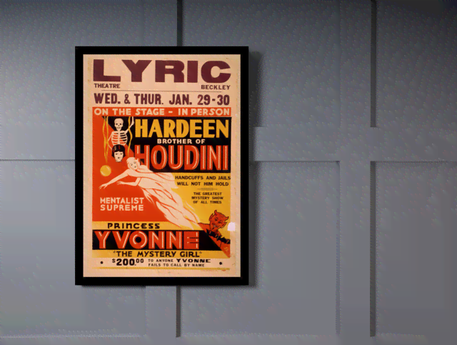 Quadro Poster Propaganda Hardeen Brother of Houdini na internet