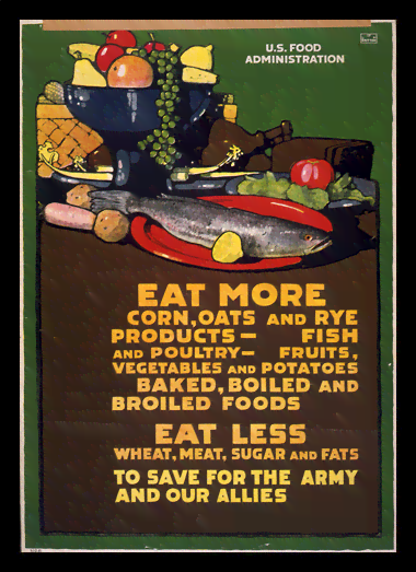 Quadro Poster Propaganda Guerra Eat More Eat Less