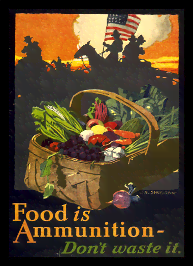 Quadro Poster Propaganda Guerra Food is Ammunition