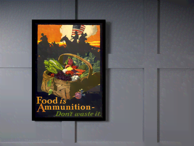 Quadro Poster Propaganda Guerra Food is Ammunition na internet