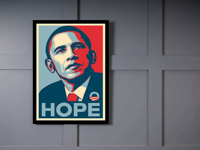 Quadro Poster Art Digital Obama Hope na internet
