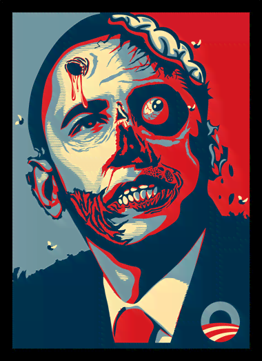 Quadro Poster Art Digital Obama Zumbi