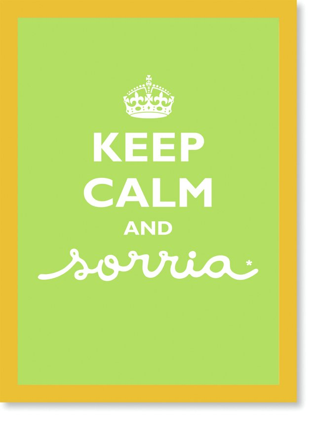 Quadro Poster Frase Keep Calm and Sorria Green - comprar online