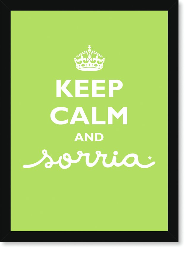 Quadro Poster Frase Keep Calm and Sorria Green