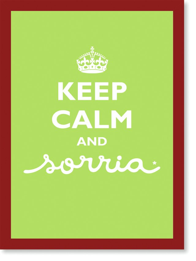Quadro Poster Frase Keep Calm and Sorria Green - loja online