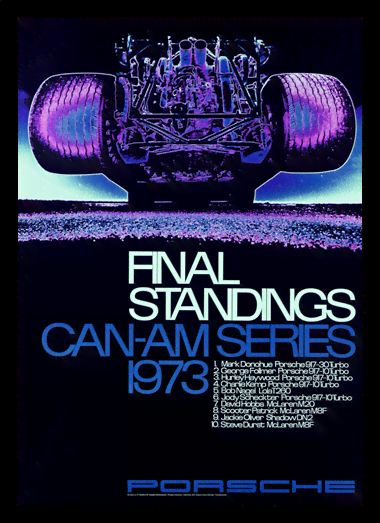 Quadro Poster Carros Porsche Final Standings 1973 Red
