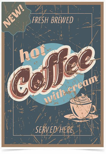 Poster Propaganda Hot Coffee With Cream