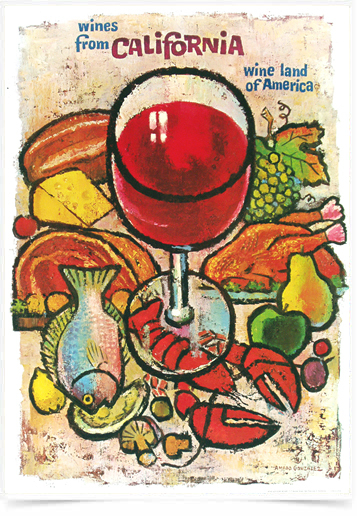 Poster Cozinha Wines From California