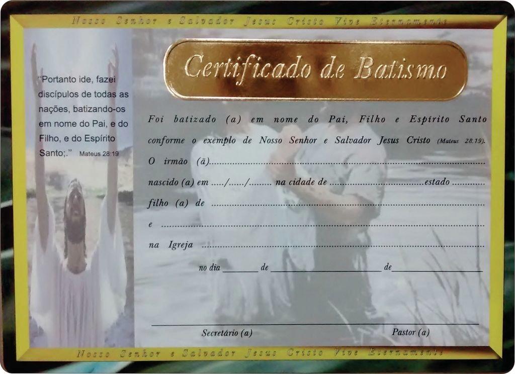 Certificado De Batismo Pct C 10 Und RESGATE GOSPEL