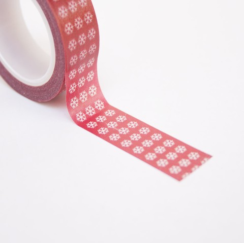 Washi tape papel de arroz copos de nieve 9 m