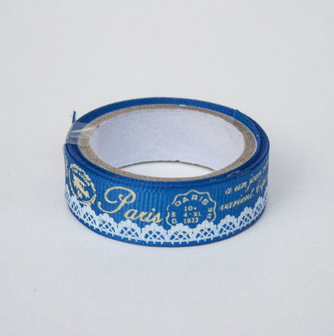 Washi tape de tela Paris azul