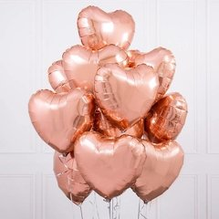 "Globo corazon gold rose  18"" / 46 cm"