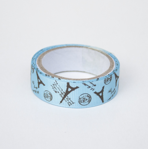 Washi tape de tela Paris celeste y chocolate