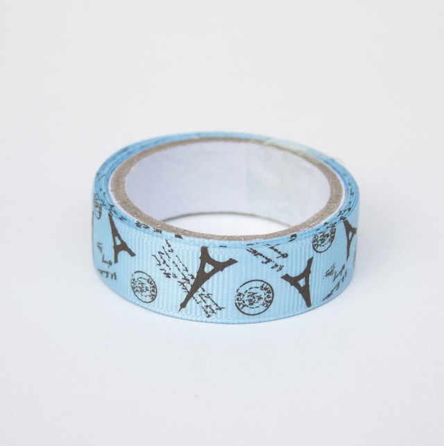 Washi tape de tela Paris celeste y chocolate en internet